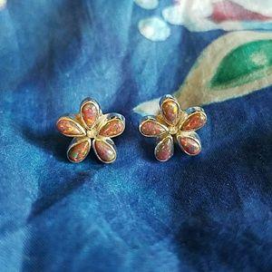 Fire Opal Earrings Sterling Silver NEW Flowers
